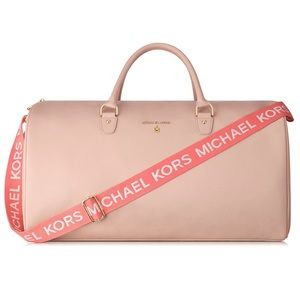 MICHAEL KORS Beige Weekender Duffel Travel Bag